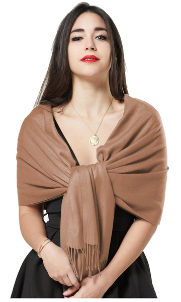 ITALIAN BLEND CASHMERE PASHMINA SCARF - LIGHT BROWN