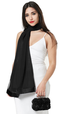 CHIFFON SCARF AND FLOWER PETAL CLUTCH BAG SET/ PRESENT - BLACK