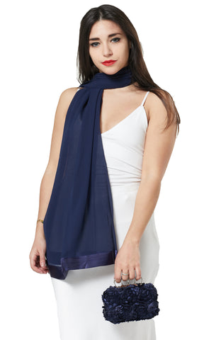CHIFFON SCARF AND FLOWER PETAL CLUTCH BAG SET/ PRESENT - NAVY