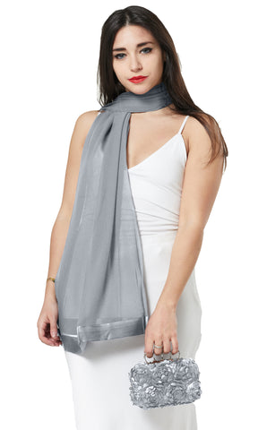 CHIFFON SCARF AND FLOWER PETAL CLUTCH BAG SET/ PRESENT - SILVER GREY