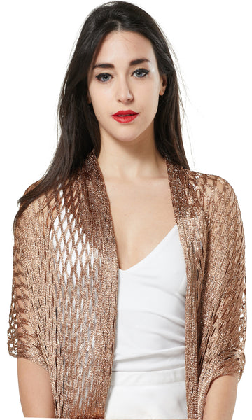 LUREX NET SCARF EVENING WRAP & SHAWL - GOLD