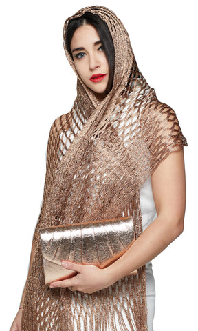 SHIMMERY LUREX FOIL EFFECT SCARF AND BAG SET - Gold