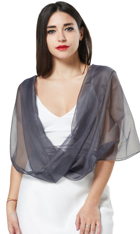 MULTI-WEAR CHIFFON INFINITY SCARF - GREY