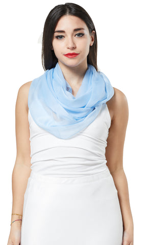 MULTI-WEAR CHIFFON INFINITY SCARF - LIGHT BLUE