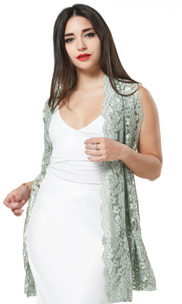 WAY CORDED LACE LOOP SCARF/ EVENING WRAP-GREEN