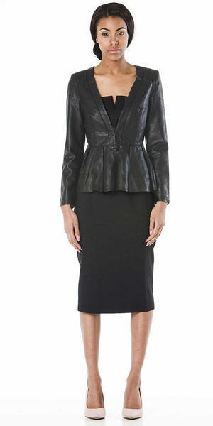 Roxy Faux Leather Peplum Blazer Jacket - ABIODUN  - 1