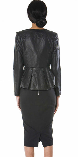Roxy Faux Leather Peplum Blazer Jacket - ABIODUN  - 3