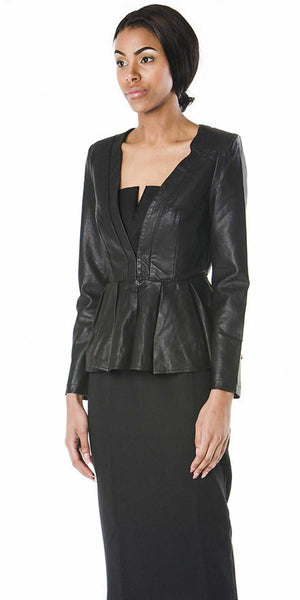 Roxy Faux Leather Peplum Blazer Jacket - ABIODUN  - 2