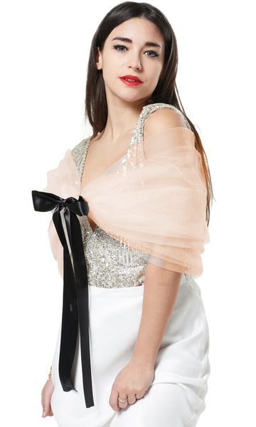 TULLE SHAWL NET CAPE COVER-UP-IVORY