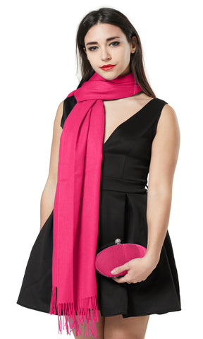 PASHMINA AND PEARL SHAPE CLUTCH BAG GIFT SET - FUSHIA PINK