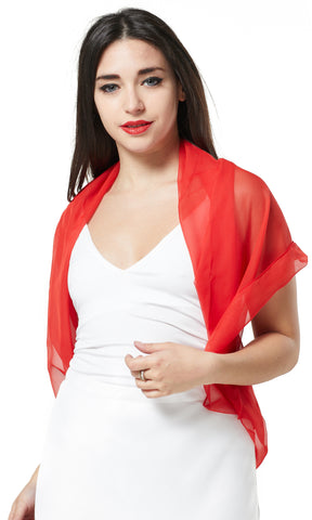 MULTI-WEAR CHIFFON INFINITY SCARF - RED