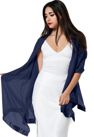 CHIFFON SCARF WRAP WITH SATIN TRIM- NAVY BLUE