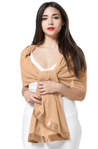 CHIFFON SCARF WRAP WITH SATIN TRIM - BEIGE