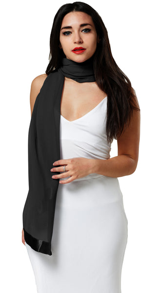 CHIFFON SCARF WRAP WITH SATIN TRIM