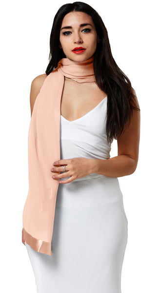 CHIFFON SCARF WRAP WITH SATIN TRIM- PEACH