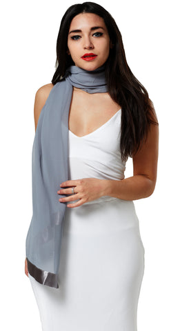 CHIFFON SCARF WRAP WITH SATIN TRIM - GREY