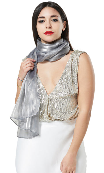 ORGANZA SCARF WRAP WITH MATCHING CONCORD BROACH - BLUE