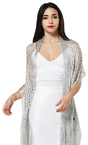 GOLD LUREX NET SCARF EVENING WRAP & SHAWL - SILVER