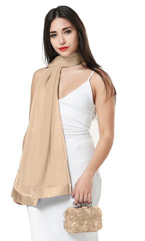 CHIFFON SCARF AND FLOWER PETAL CLUTCH BAG SET/ PRESENT - NUDE