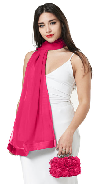 CHIFFON SCARF AND FLOWER PETAL CLUTCH BAG SET/ PRESENT - PINK