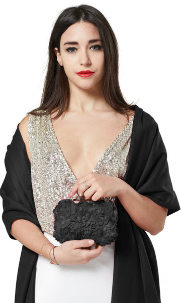 PASHMINA AND FLOWER PETAL CLUTCH BAG GIFT SET - BLACK