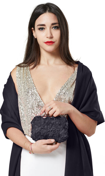 PASHMINA AND FLOWER PETAL CLUTCH BAG GIFT SET - NAVY