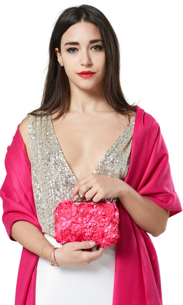 PASHMINA AND FLOWER PETAL CLUTCH BAG GIFT SET - PINK