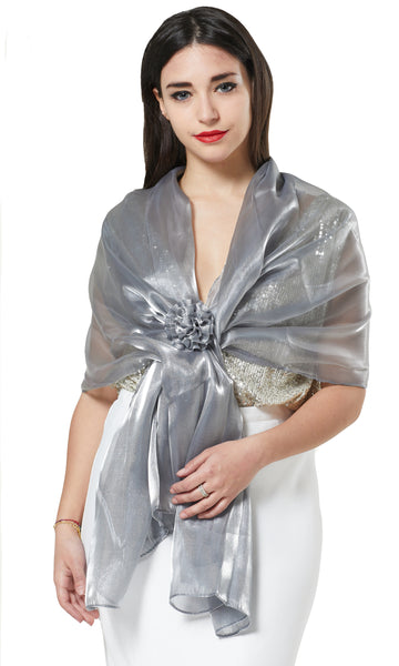 ORGANZA SCARF WRAP WITH MATCHING CONCORD BROACH - SILVER