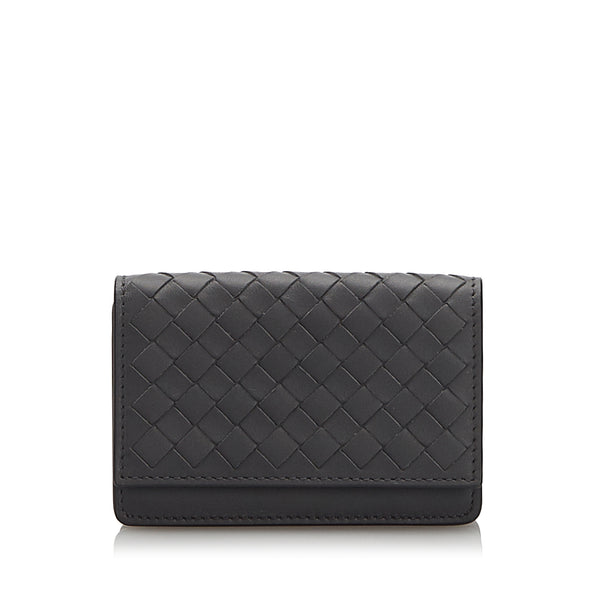 Black Bottega Veneta Intrecciato Card Case