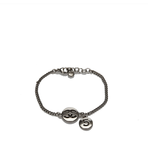 Silver Chanel CC Number 5 Metal Bracelet