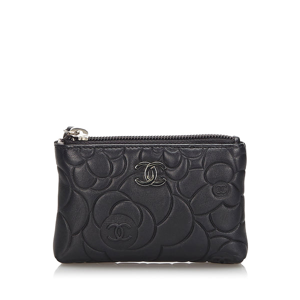 Black Chanel Leather Camellia Wallet