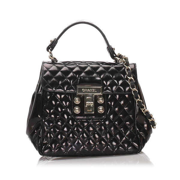 Black Chanel Quilted Patent Leather Satchel