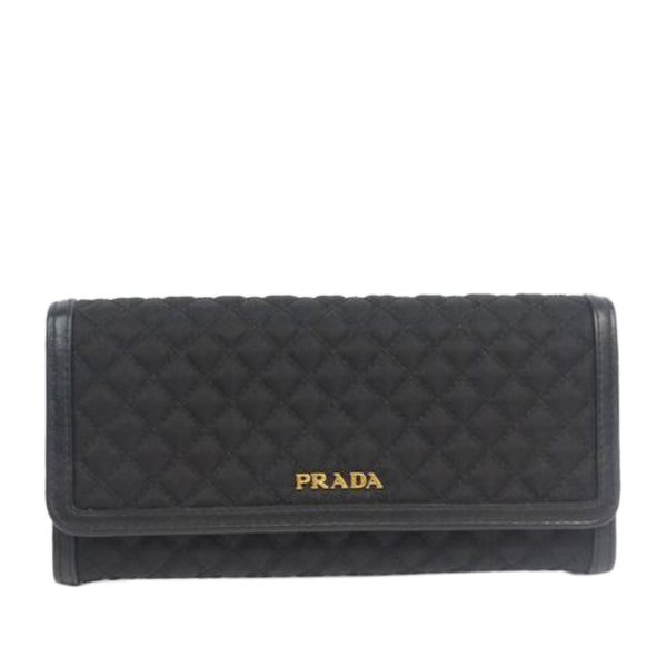 Black Prada Quilted Nylon Long Wallet