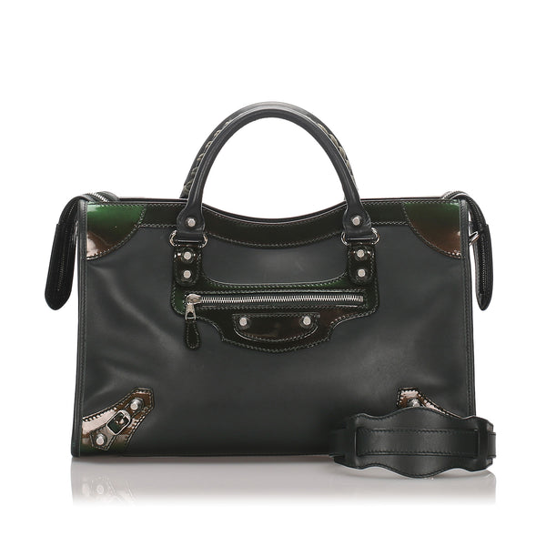 Black Balenciaga Motocross Giant 12 Nickel City Bag