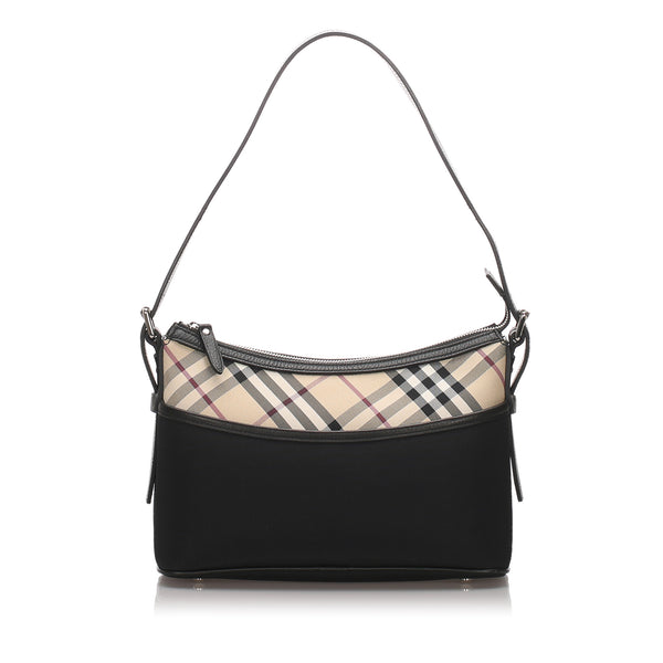 Black Burberry Nylon Nova Check Shoulder Bag