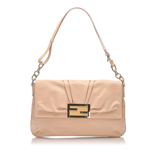 Brown Fendi Nylon Mia Shoulder Bag