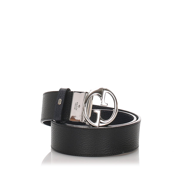 Black Gucci GG Leather Reversible Belt