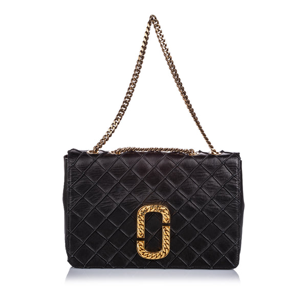 Black Marc Jacobs Double J Quilted Leather Flap Bag
