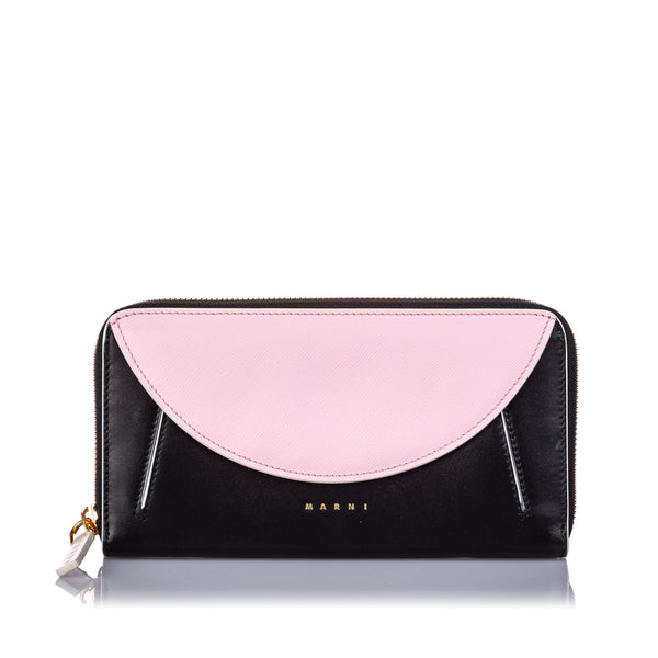 Black Marni Leather Zip Wallet