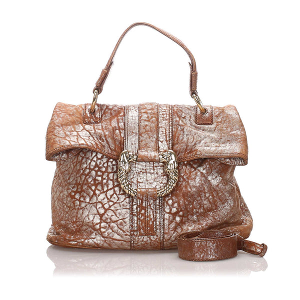 Brown Bvlgari Metallic Leather Leoni Satchel Bag