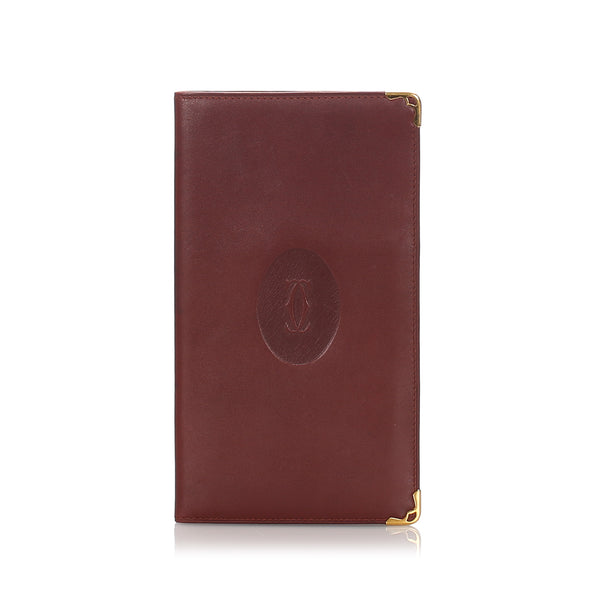 Red Cartier Leather Must De Cartier Wallet