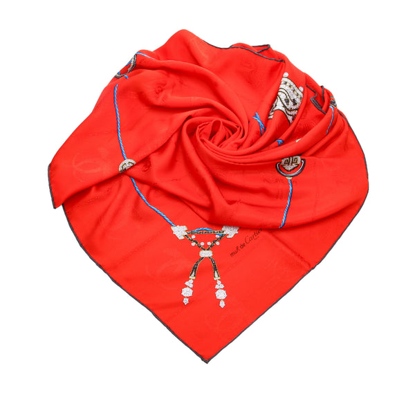 Red Cartier Printed Silk Scarf