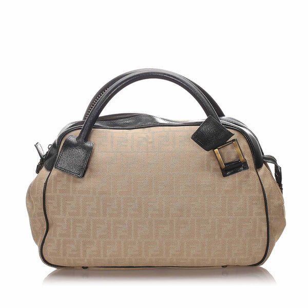 Beige Fendi Zucchino Canvas Handbag