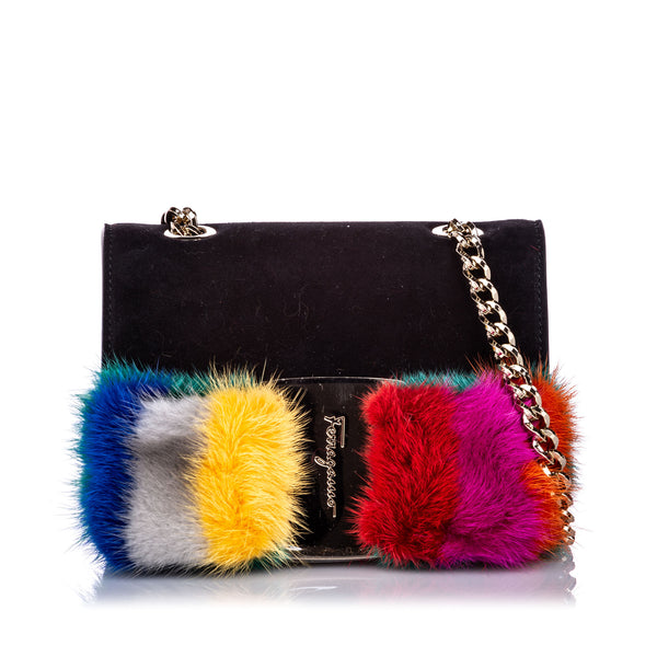 Black Ferragamo Mini Crossbody Vara Bow Fur Bag