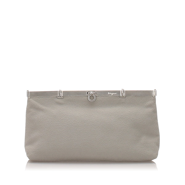 Gray Ferragamo Gancini Nylon Clutch Bag