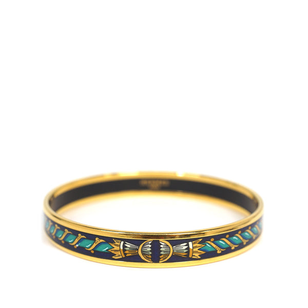 Blue Hermes Narrow Enamel Bangle
