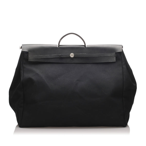 Black Hermes Canvas Herbag GM Satchel Bag