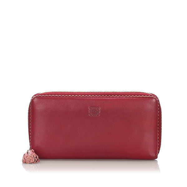 Red Loewe Leather Amazona Long Wallet