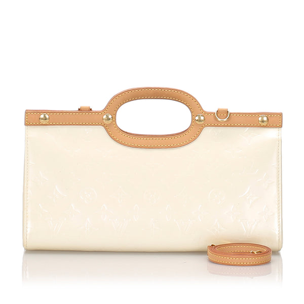 White Louis Vuitton Vernis Roxbury Drive Bag