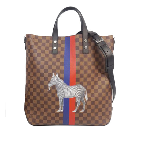 Brown Louis Vuitton Damier Ebene Zebra Atlas Tote Bag